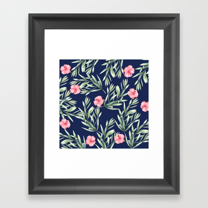 Delicate Hibiscus Blue Framed Art Print
