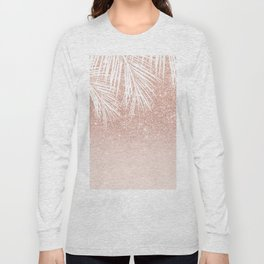 Modern tropical palm tree rose gold glitter ombre blush pink gradient Long Sleeve T-shirt