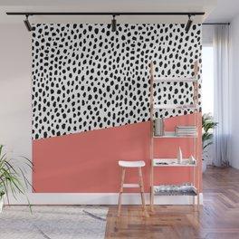Dalmatian Spots with Coral Stripe (Pantone Living Coral) Wall Mural