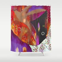 "flora bowley Shower Curtains featuring ""Reflect You"" Original Painting by Flora Bowley by Flora Bowley"