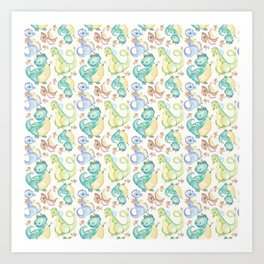 Watercolor Dinosaurs Hand Drawn Illustration Pattern Art Print
