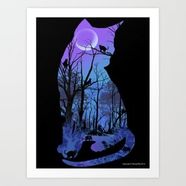 CAT MOON Art Print