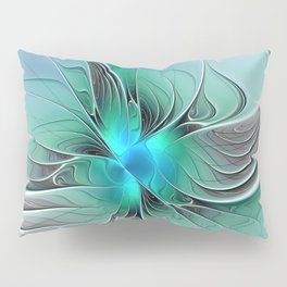 Abstract With Blue 2, Fractal Art Pillow Sham