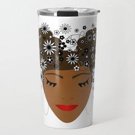 African American Flower Goddess Travel Mug