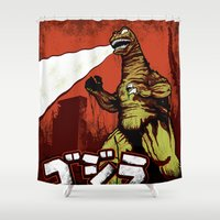 godzilla Shower Curtains featuring Godzilla by HAZZAH!