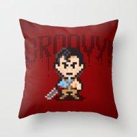 evil dead Throw Pillows featuring Evil Dead Pixels by Jango Snow
