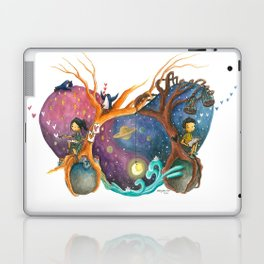 Heart Painting of Girl and Boy on Different Planets And the Galaxy Between Their Trees Laptop & iPad Skin