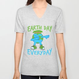 """Earth Day Dabbing Earth Blast Is A Graphic Design That Has Words """"Earth Day"""" T-shirt Design Unisex V-Neck"""