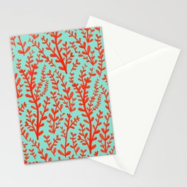 Mint Green and Red Floral Leaves Gouache Pattern Stationery Cards