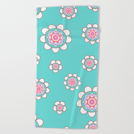 Mandala Flowers Pattern Blue Pink Beach Towel