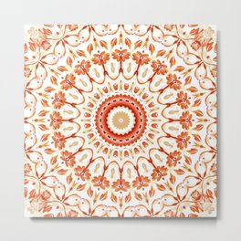 Floral Sun Mandala Metal Print