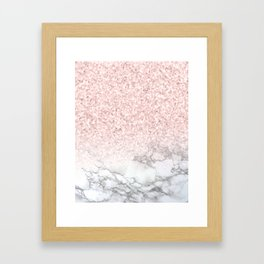 Pretty Rosegold Marble Sparkle Framed Art Print