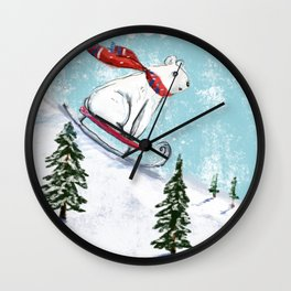 Sledding bear Wall Clock
