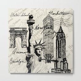New York City Vintage Postal Stamp Scripts Metal Print