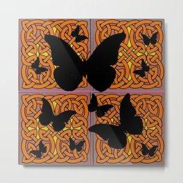 Mystic Black Butterflies Golden Celtic Patterns Metal Print