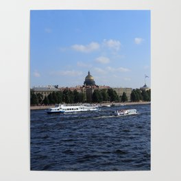 Passenger Boats on Neva River with dome of St. Isaac's Cathedral. Poster