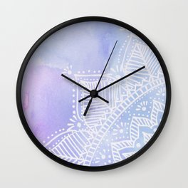 Mandala flower on watercolor background - pink and lilac Wall Clock
