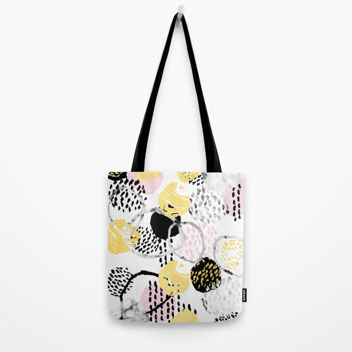 Amalia - gold abstract black and white glitter foil art print texture ink brushstroke modern minimal Tote Bag