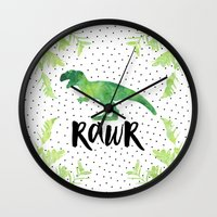 trex Wall Clocks featuring Rawr by Elisabeth Fredriksson