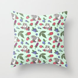 Guinea Pig Pattern in Mint Green Background with mix berries Throw Pillow