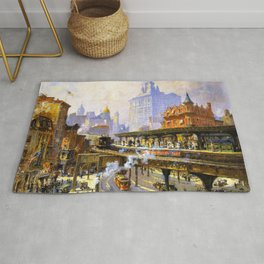 Elevated Subway at Chatham Square New York City landscape painting by Colin Campbell Cooper  Rug