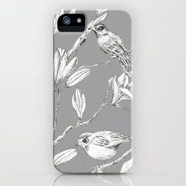 Magnolia flower and birds ink-pen drawing iPhone Case