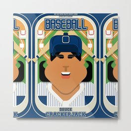 Baseball Blue Pinstripes - Deuce Crackerjack - Indie version Metal Print