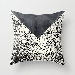 Black ivory confetti watercolor geometrical Throw Pillow