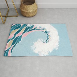 Surf X // Cali Beach Summer Surfing Rip Curl Gold Pink Aqua Abstract Ocean Wave Rug