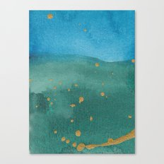 Gold on green and blue Canvas Print