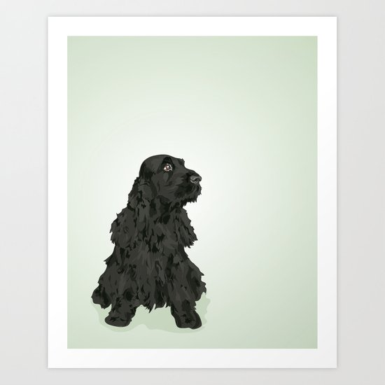 Black English Cocker Spaniel Art Print