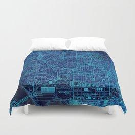 Washington West ols map, blue art print for man cave Duvet Cover
