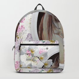 White orchids & Arabian mare Backpack