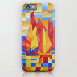 Sailing on the Seven Seas so Blue Cubist Abstract iPhone Case