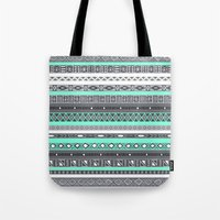 tiffany Tote Bags featuring Tiffany Turquoise Aztec Print by RexLambo