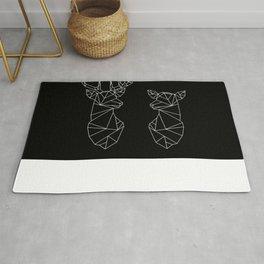 Geometric Stag and Doe (White on Black) Rug