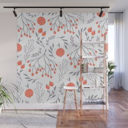 Red Berry Floral Wall Mural