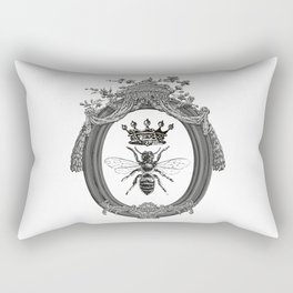 Queen Bee | Vintage Bee with Crown | Black, White and Grey | Rectangular Pillow