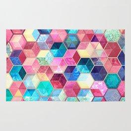 Topaz & Ruby Crystal Honeycomb Cubes Rug