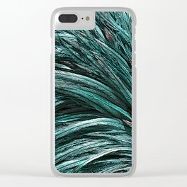 Turquoise Ostrich Feather Background Clear iPhone Case