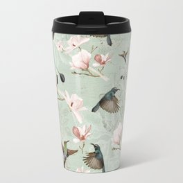 Vintage Watercolor hummingbird and Magnolia Flowers on mint Background Travel Mug