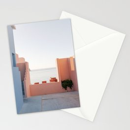 Pastel Pink and Blue Houses with Ocean View   Muralla Roja Minimal Architecture Photography   Spain Wanderlust Travel Stationery Cards