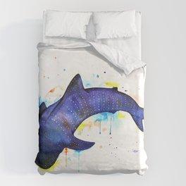 Whale shark, watercolour Duvet Cover