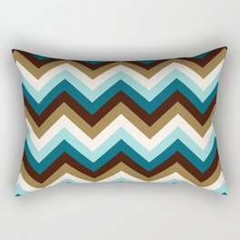 Funky Zigzag Pattern Teals Brown Gold Cream Rectangular Pillow