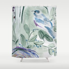 robin with nest Shower Curtain