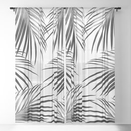 Black Palm Leaves Dream #2 #tropical #decor #art #society6 Sheer Curtain