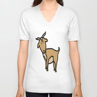 goat V-neck T-shirts featuring Goat by Luke Roach