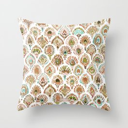 PEACOCK MERMAID Rose Gold Mint Scales and Feathers Throw Pillow