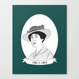 Jeannette Rankin Illustrated Portrait Canvas Print