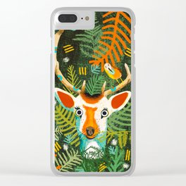 Cute deer with a bird on wood Clear iPhone Case